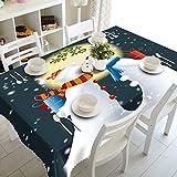XXDD Decoración del hogar Mantel 3D Lindo muñeco de Nieve Tema patrón algodón Lavable y Mantel Redondo de año Nuevo A5 140x180cm