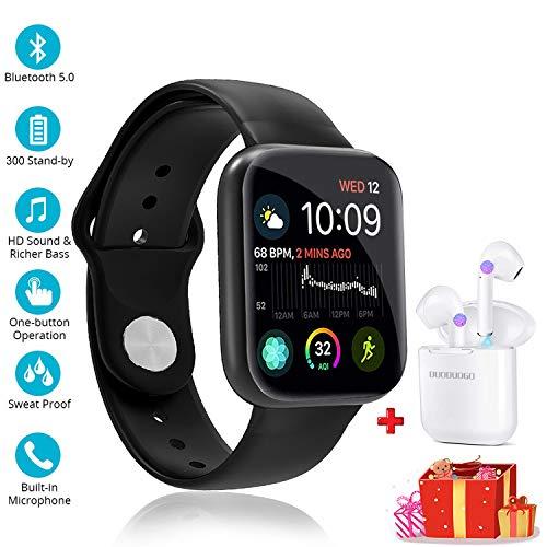 Smartwatch Reloj Resistente Hombre Mujer Niños Monitor Pulso Cardiaco Pulsera Actividad Reloj Inteligente Cardio Podómetro Bluetooth Reloj Deportivo Rastreadores Cronómetro para Android iOS (Negro)