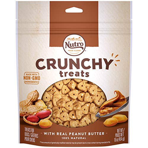 NUTRO Crunchy Dog Treats with Real Peanut Butter, 16 Ounce Bag