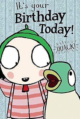 Sarah & Duck Greetings Card Happy Birthday - In Lounge