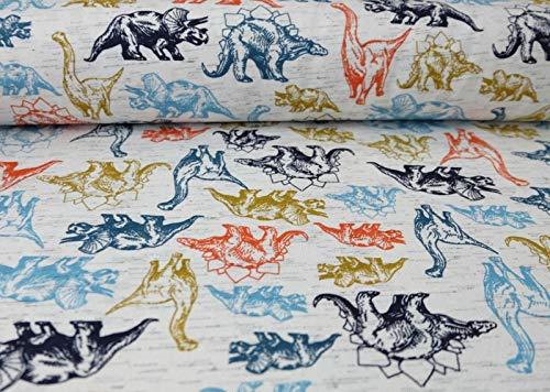 Jersey mit bunten Dinosaurier auf Ecru als Meterware zum Nähen von Damen und Kinder und Babykleidung, 50 cm