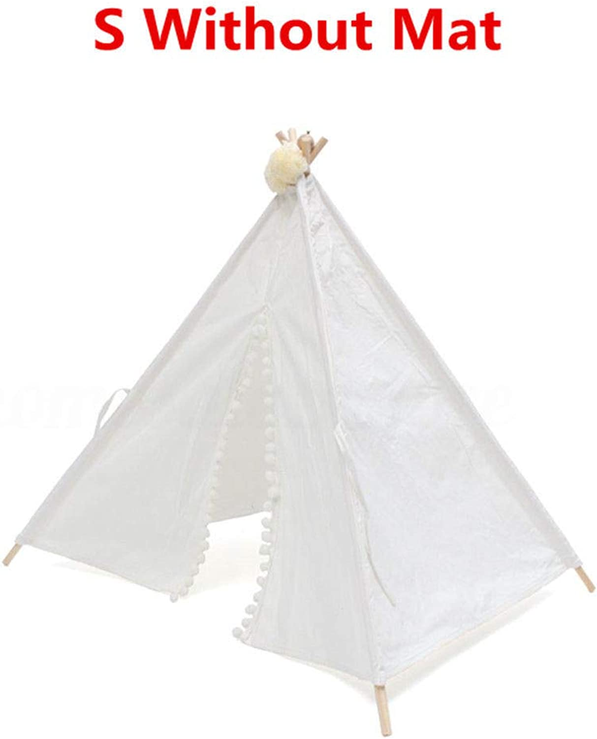 FidgetFidget Dog Cat Pet Teepee White Tent Portable Washable Sweet House Kids Play Tents S L S Without Mat (50  50  70Cm)
