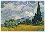 Panorama Póster Van Gogh Campo de Trigo con Cipreses 70x50 cm - Impreso en Papel de 250gr - Póster Pared - Láminas para Enmarcar - Cuadros Decoración Salón - Pósters Decorativos - Cuadros Modernos