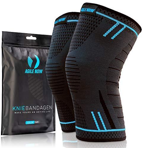AGILE NOW Kniebandage [2er Set ] [M - XL] Premium inkl. Ultimativer Ratgeber E-Book die Kniebandage Männer Sport & Kniebandage Damen für alle Sportarten   Kniebandage meniskus   Knee Pads L