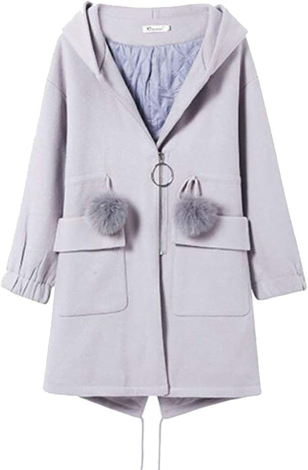 SELXWomen Thicken Solid Slim Zip Pockets Hoodie Pea Coat Overcoats