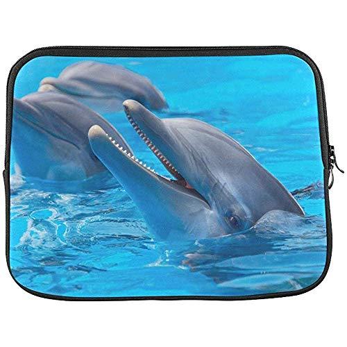 Dolfijnen in Zwembad Blauw Water Sleeve Zachte Laptop Case Tas Zak