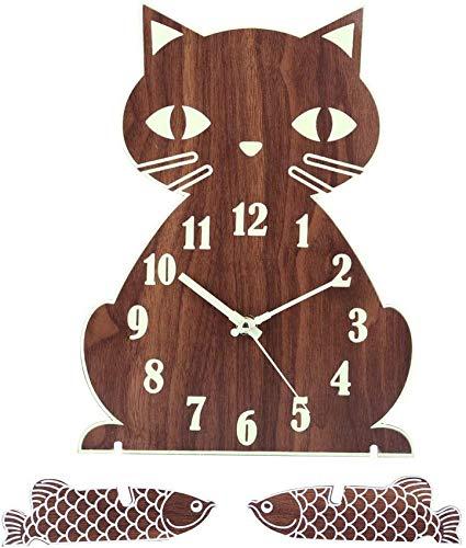 MLL Luminous Cat Reloj de Pared Moderno con números Luminosos Reloj de Pared Reloj de Pared de Madera Silencioso para Sala de Estar, Cocina, Comedor, Oficina y Dormitorio