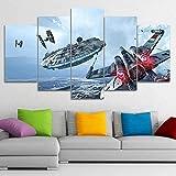 Impresión Pintura Lienzo5 Piezas Millennium Falcon X-Wing Película Star Wars Lienzo Arte de la pared Pintura para el hogar Sala de estar Oficina Mordern Decoración Regalo (con marco)