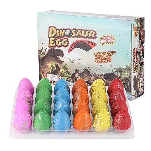24 piezas de huevos de dinosaurio de Pascua, huevos de dinosaurio de Pascua que crecen en el agua kits de ciencia para incubar huevos juguete educativo para niños de 3 a 10 niños y niñas(Vistoso)
