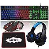 MFTEK RGB Rainbow Backlit Gaming Keyboard and Mouse Combo, Blue Lighted PC Gaming Headset with Microphone, Large Gaming Mouse Pad, USB Wired Bundle for Laptop Computer Gamer Game Office