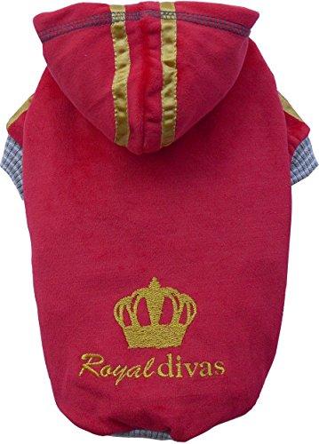 Doggy Dolly W235 Kapuzenshirt für Hunde Royal Divas Samt, rot, Größe : S