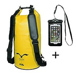 HAWK OUTDOORS Dry Bag - waterproof pack bag with padded shoulder straps including waterproof cell phone case - 20L - duffel bag - waterproof backpack - sailing rafting kayak