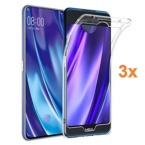Pack 3X Case Flexible Silicone TPU for VIVO NEX 2, Ultra Thin 0.33mm, Crystal Clear