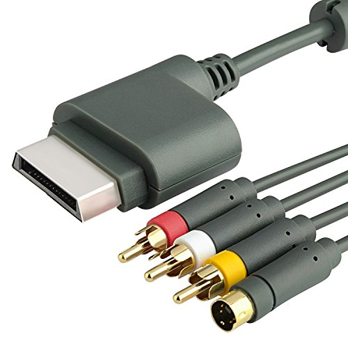 6ft Gray AV Composite and S-Video Cable Compatible With Microsoft Xbox 360 / Xbox 360 Slim
