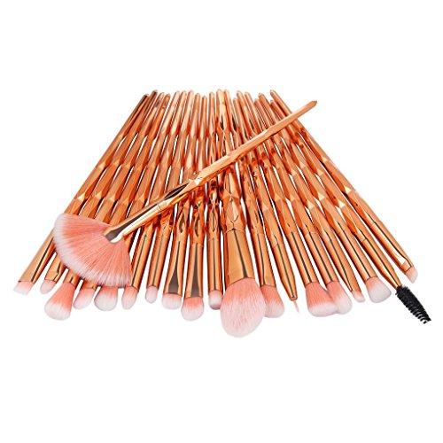 Lidahaotin 20pcs / Set Fibre Fard Pinceau de Maquillage Fondation Set Fard à paupières Poudre, encadraient Brosse Poudre, pinceaux cosmétiques Fibre Contour Mélangeant Kit