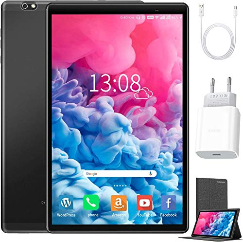 Tablet de 10 pulgadas Android 10 64 GB (720p/1080p Full HD) – 4 GB RAM 4 G Dual SIM /SD, tabletas Quad Core, tipo C, cámara de 5 MP + 8 MP, 8000 mAh, Bluetooth, WiFi, delgada y ligera, color negro