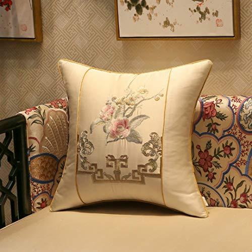 2 fundas de cojín extraíbles y lavables con bordado chino, adecuado para dormitorio, sala de estar, estudio, sala de té, azul, blanco, amarillo, 35 x 50 cm, 45 x 45 cm, 40 x 60 cm, 50 x 50 cm.