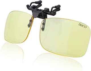 DUCO Optiks Clip on Rimless Ergonomic Advanced Computer Glasses with Amber Tint Lens 8012