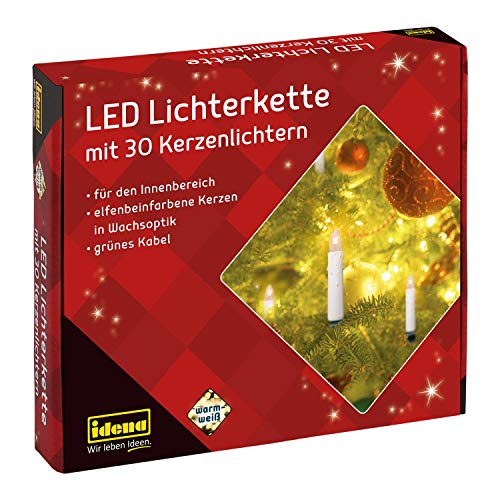 Idena 38192 - LED Kerzenlichterkette mit 30 LED in warmweiß, 30 Kerzen mit Klemmen, ideal für den Weihnachtsbaum, ca. 16 m