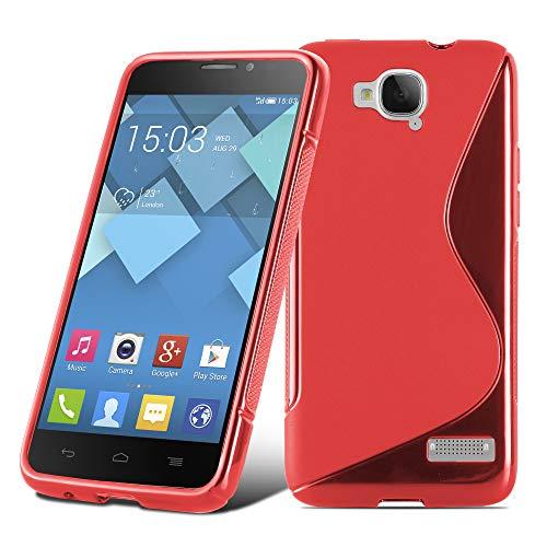 Preisvergleich Produktbild Cadorabo Hülle für Alcatel ONE Touch Idol S - Hülle in Inferno ROT Handyhülle aus flexiblem TPU Silikon im S-Line Design - Silikonhülle Schutzhülle Soft Back Cover Case Bumper