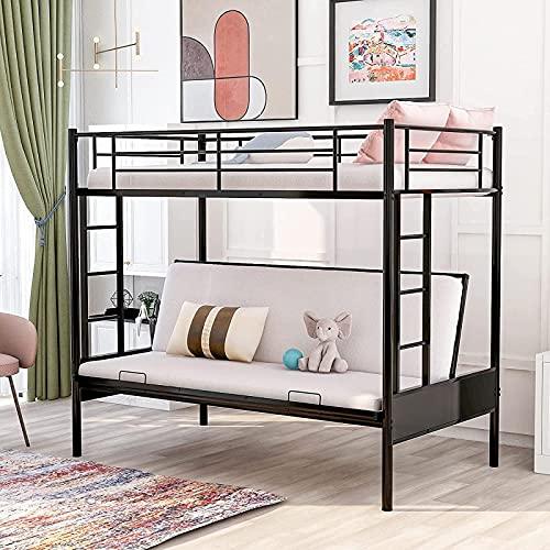 MWKL Las más Nuevas literas de futón con Dos Camas Individuales, litera de Metal con Dos Camas Individuales Convertible en futón, litera de futón de Metal con barandillas y Escalera
