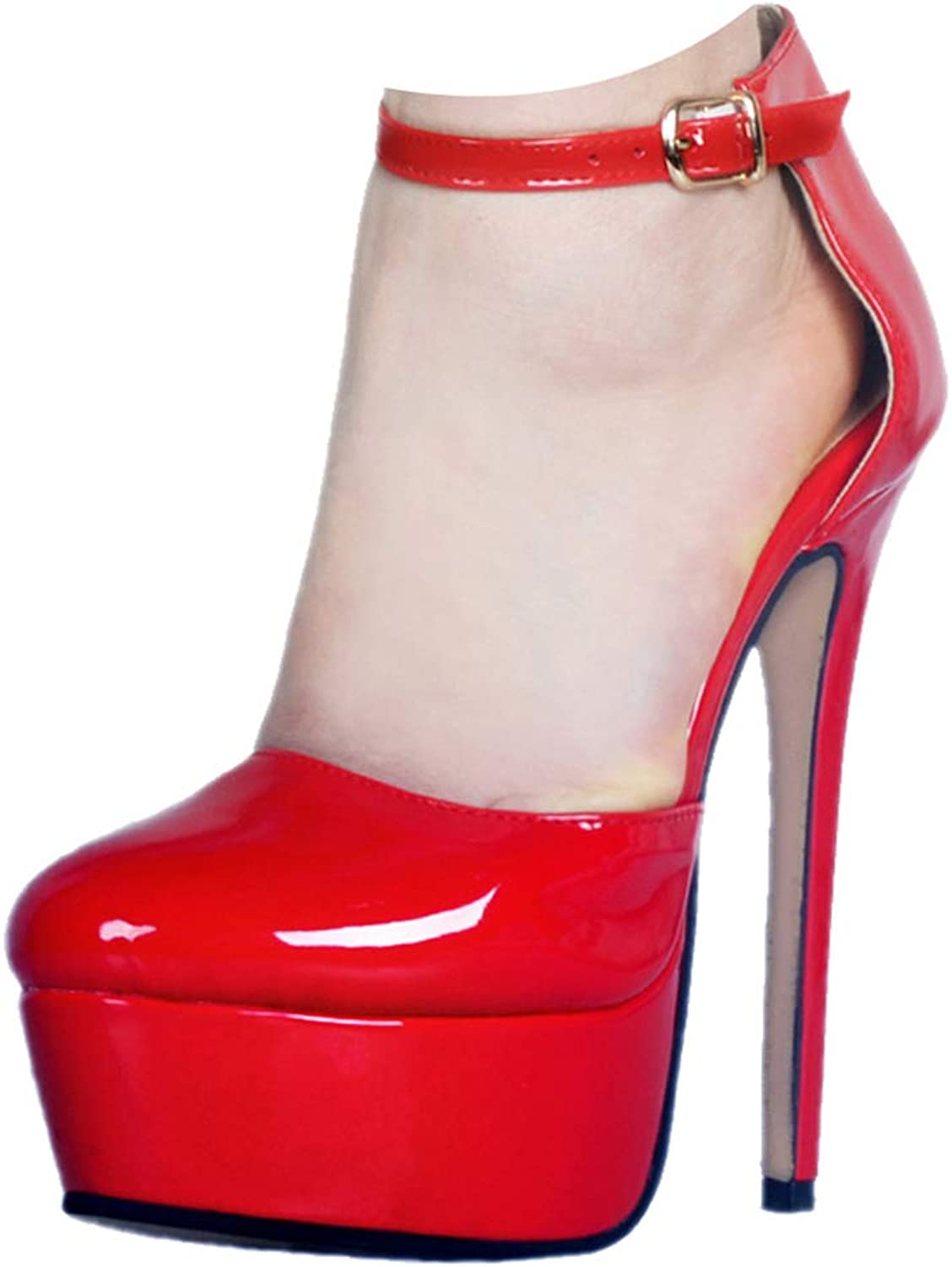 CASSOCK Ladies Handmade Patent Mary Janes Style Buckle Strap High Heel Pumps shoes