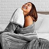 Bare Home Sherpa Fleece Blanket - Twin/Twin Extra Long - Fluffy & Soft Plush Bed Blanket - Hypoallergenic - Reversible - Lightweight (Twin/Twin XL, Grey)