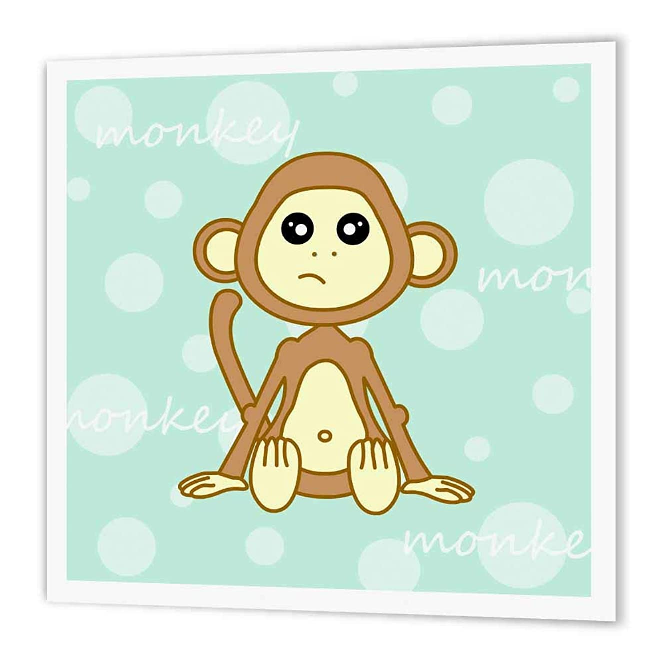 3dRose ht_6102_3 Blue Baby Monkey-Iron on Heat Transfer Paper for White Material, 10 by 10-Inch