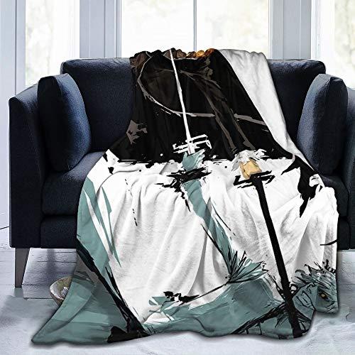 Bleach Anime Blanket, Bleach Kurosaki Ichigo Throw Blanket Warm Ultra Soft Plush Fleece Blanket 3D Printed Plush Ultra Soft Bed Quilt Home Decor Fleece Sofa Carpet Gift for Boys Girls Adult