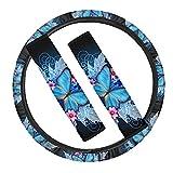 Chaqlin - Coprivolante universale per auto, con 2 pezzi, in neoprene, per cinture di sicurezza, con chiusura a farfalla, colore: Blu