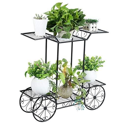 Giantex Pflanzenregal Metall, Blumenständer in Wagenform, Pflanzenständer mit 6 Ablagen, Deko Blumenwagen, Mehrstöckiges Pflanzenhalter freistehend, Industriedesign Blumentreppe für Indoor & Outdoor