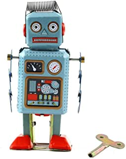 Vintage Mechanical Clockwork Wind Up Metal Walking Robot Tin Toy Kids Gift Kakiyi