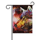 ALAZA Cósmico Lobo doble echó a un lado decorativo de la bandera del jardín