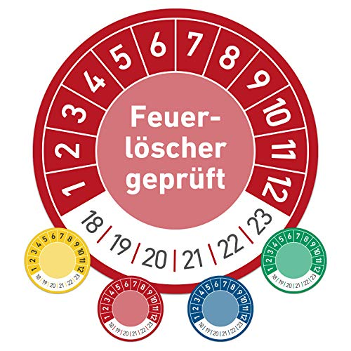 Feuerlöscher geprüft Prüftermin Wartungsplakette Prüfplakette Wartung 20mm Ø rot (100 Stück)