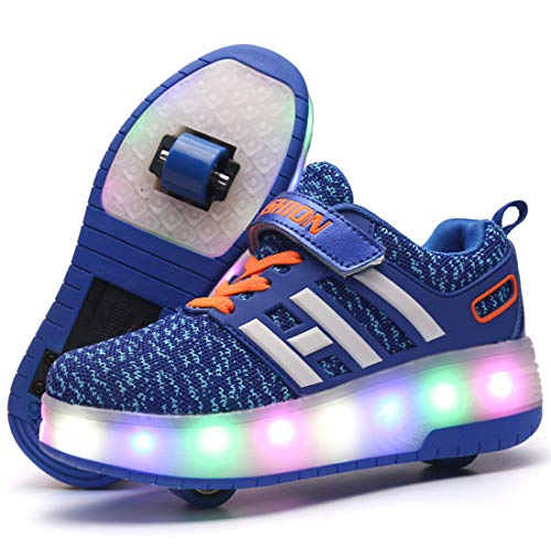 XIANGHAIKUI Unisex Kinder LED Leuchtend Schuhe mit Doppelt Rollen Outdoor Sports Training Schuhe 7 Farbe Farbwechsel Blinkschuhe Skateboardschuhe Blinking Gymnastik Sneaker für Junge Mädchen