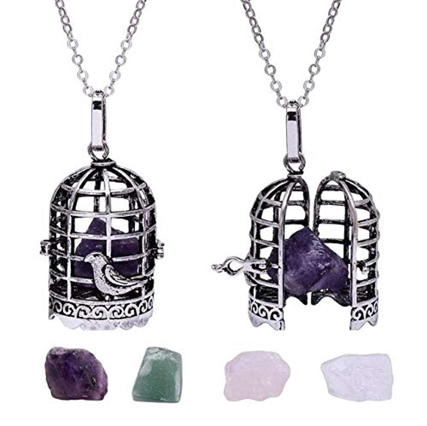 Pendants - 1PC Antique Silver Crystal Bird Cage Pendant Necklace Locket Interchangeable Rock Stone Necklace For Women - Amethyst