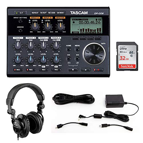 Tascam DP-006 6-Track Digital Pocketstudio with Tascam PS-P520E AC Power Adapter, Polsen HPC-A30 Headphones & 32GB Memory Card Bundle