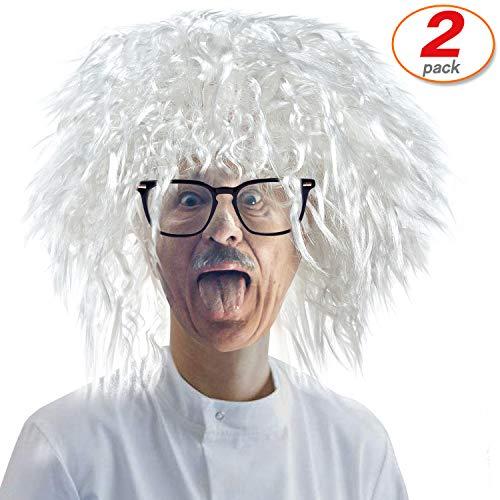 2 Set Albert Einstein Costume Wig Mad Scientist Adult Wig Costume Wig Crazy Wig Costume Accessories (Einstein costume Wig)