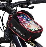 JeeLet Bolsa Bicicleta Bolsa Movil Bici con Ventana para Pantalla Táctil Cuadro Pantalla Táctil Cremallera Impermeable Soporte para Móvil 6,5' (Red)