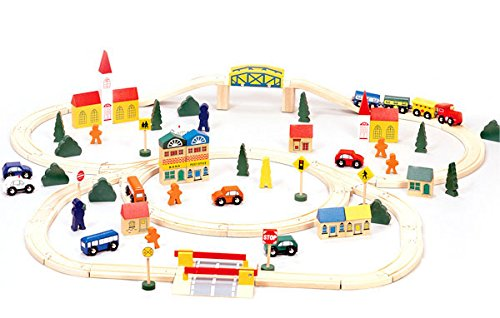 Conductor Carl TCON-201 100-Piece Train Track Town Starter Set Bulk Value Wooden Set with 34...