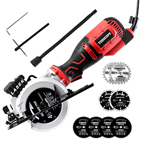 """TODOCOPE Mini Circular Saw with 8 pcs 4 1/2"""" circular saw blades, 5.8Amp Compact Circular Saw with Laser Guide, Ideal for Wood, Soft Metal, Tile and Plastic Cuts,Rip Guide, Vacuum Adapter,Blade Wrench"""