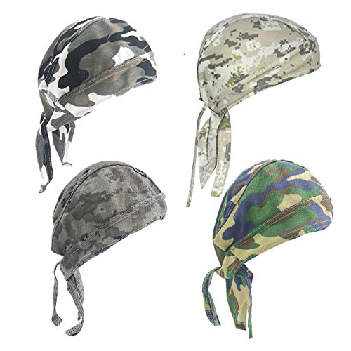4 Pack Dew Rags Sweat Wicking Doo Cap, Cooling Helmet Liners, Sport Absorptive Moisture Pirate Scarf Bandana Skull Wrap Caps, Cycling Motorcycle Quick Drying Beanie Chemo Caps (Camouflage)