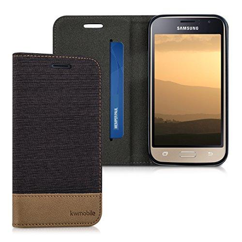 kwmobile Hülle kompatibel mit Samsung Galaxy J1 (2016) - Stoff Handy Schutzhülle - Flip Cover Hülle Anthrazit Braun
