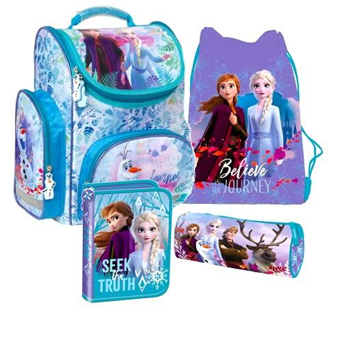 Frozen 2 II Eiskönigin Schulranzen Tornister Schulrucksack Schultasche Set 4 Teilig Inkl. Sticker Von Kids4shop Federmappe Turnbeutel
