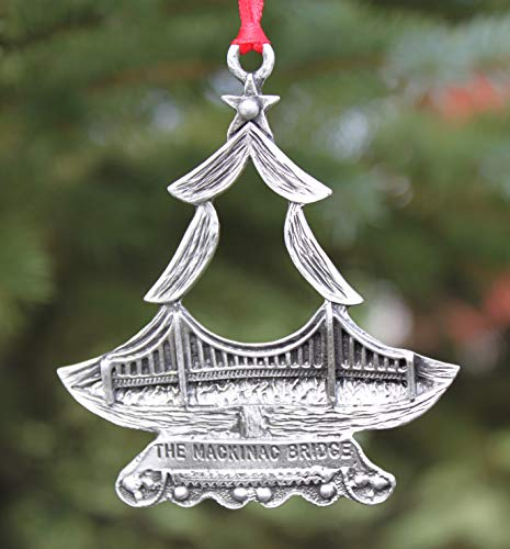 Hastings Pewter Company Lead Free Pewter Michigan Mackinac Bridge Christmas Tree Ornament Made in Michigan state decoration