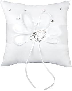 Lumanuby 1 cojín blanco con lazo para alianzas y anillos de boda, brillante, con doble corazón y brillantes, 15 x 15 cm.