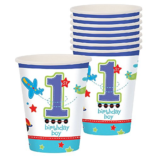 amscan All Aboard 1st Birthday Boy Paper Party Cups (Pack of 8) (One Size) (Blue/White)