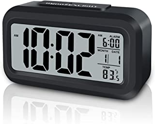 باتری ساعت زنگ دار دیجیتال GLOUE با دمای داخلی ، چراغ شبانه هوشمند ، تعویق ، تاریخ ، 12/24 ساعت ، برای ساعت کوچک اتاق خواب / سفر / میز (سیاه)