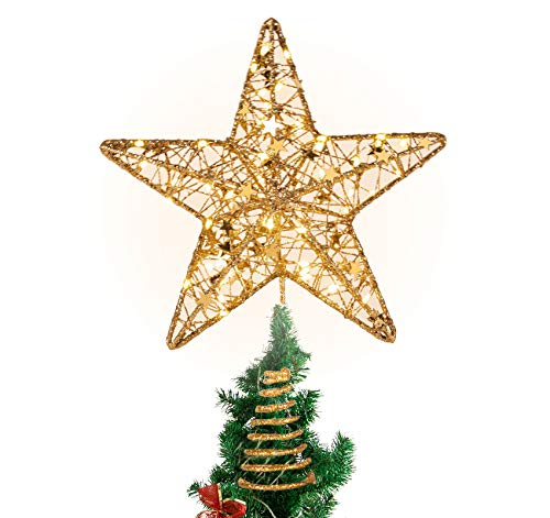 Anstore Christmas Tree Topper Battery Operated Glittering LED Star Tree Top for Xmas Decoration, Gold, 31cm