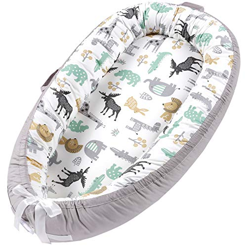 Baby Lounger Baby Nest Portable Baby Newborn Lounger Bed Pillow 100% Soft Cotton Breathable Baby Nest Sleeper Bassinet Travel Crib Baby Bed New Animal